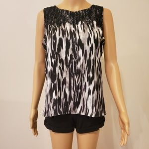 Anne Klein Sleeveless Top with Lace at Neckline